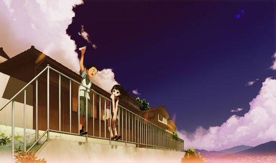 Обои Мальчик с самолётиком в руке и девочка стоят на перилах