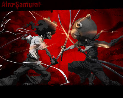Обои Два мечника сошлись в жестокой схватке (Afro Samurai/ Афро самурай)