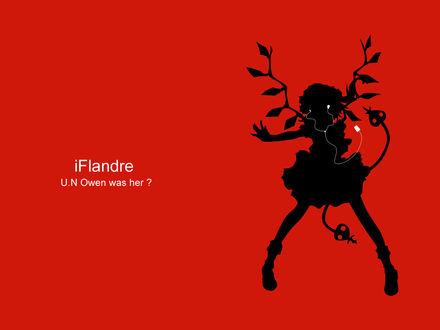 Обои Чёрный силуэт Фландр Скарлет / Flandre Scarlet из аниме-игры Тохо / Touhou Project с белым плеером iPod (iFlandre U.N Owen was her?)
