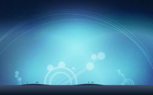 Обои Абстракция из кругов в виде силуэтов деревьев на фоне неба