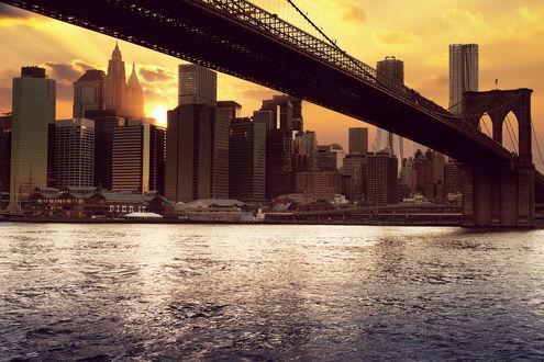 Обои Бруклинский мост, Нью-йорк, Америка / Brooklyn Bridge, New York, USA ранним утром