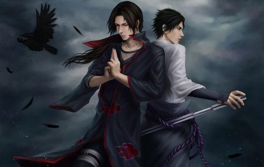 Обои Uchiha brothers - Itachi & Sasuke / братья Учиха - Итачи и Саске из аниме Наруто / Naruto, art by Zetsuai89