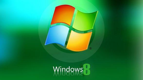Обои Объемный логотип Windows 8 на зеленом фоне