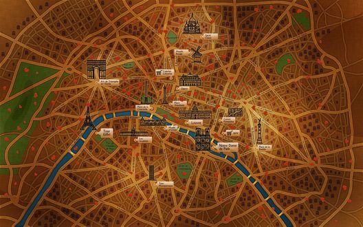 Обои Шутливая карта Парижа