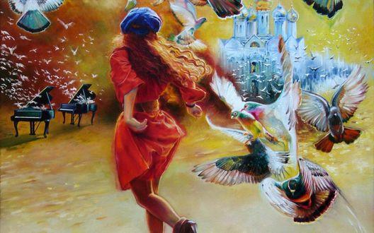 Обои Девушка в красном платье и синем берете идет к церкви мимо роялей из которых вылетают голуби, художник Wlodzimierz Kuklinski
