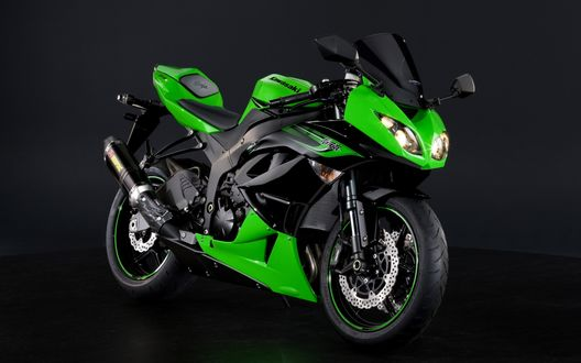 Обои Зеленый мотоцикл Kawasaki Ninja ZX-6R / Кавасаки Ниндзя