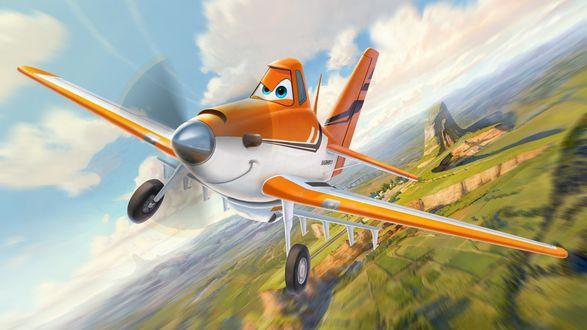 Обои Оранжевый самолет из мультфильма Аэротачки / Planes, анимационной студии Pixar / Пиксар