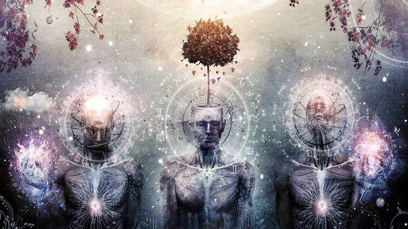 Обои Трое людей со странными символами вокруг голов, у одного из головы растет дерево (Cameron gray)