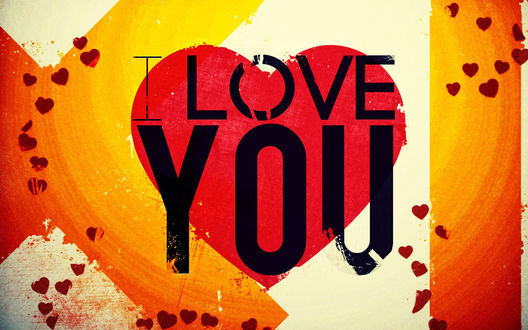 Обои Надпись на фоне сердечек (I love you)