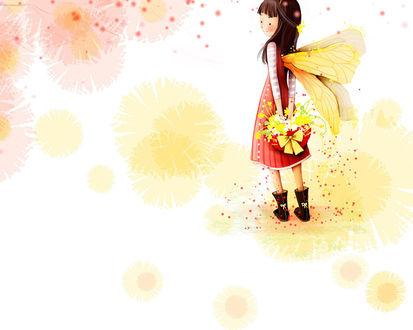 Обои Девочка с крылышками бабочки на спине держит в руках корзинку с цветами