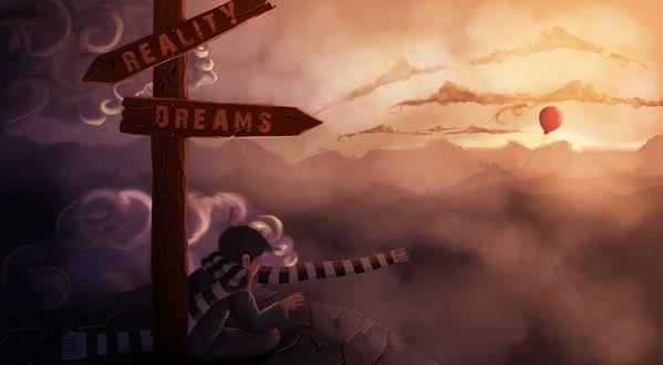 Обои Мальчик на границе мечты и реальности сидит под указателем у обрыва и смотрит вниз, в небо улетает его красный шарик (Reality / Dreams)