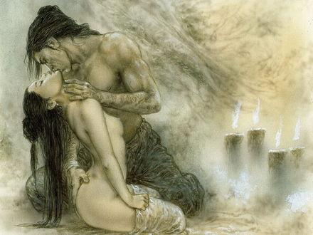 Обои Художник Luis Royo / Луис Ройо. Сборник работ Dead Moon / Мёртвая луна. Мужчина целует девушку при свечах. Эротика
