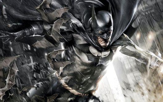 Обои Бэтмен, персонаж комиксов 'Бэтмен / Batman', широко раскинув руки, стремительно падает вниз