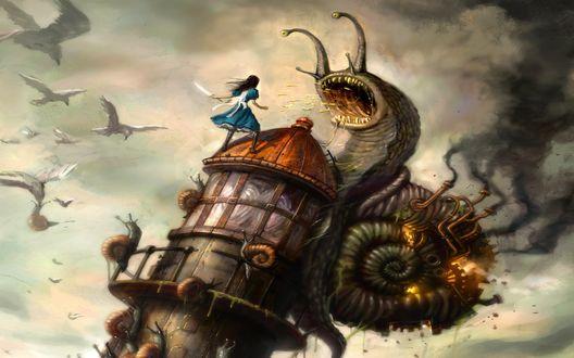 Обои Отвратительные улитки-монстры, взобравшись на башню, атакуют Алису / Alice, персонажа игры 'Alice: Madness Returns'
