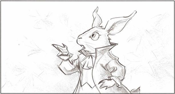 Обои Белый кролик, из сказки Льюиса Кэрролла / Lewis Carroll  'Алиса в стране Чудес / Alice in Wonderland', в красивом камзоле