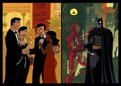 Обои Шуточный рисунок про дружбу двух супергероев Бэтмена (Брюс Уэйн) / Batman (Bruce Wayne) и Железного Человека (Тони Старк) / Iron Man (Tony Stark), в костюмах и без, из мульфильма 'Batman' (STARK & WAYNE`S CHARITIES | SUPERMAN)