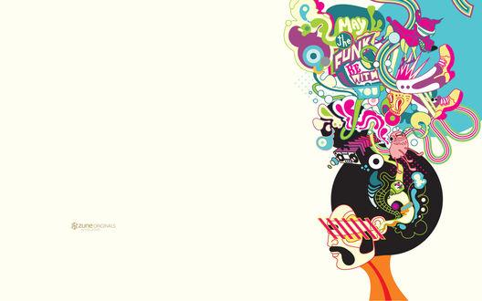 Обои Голова парня в очках и его мысли ' May the funk with you ? / Может быть организовать фанк с вами ? ', Zune Originals by Colletivo