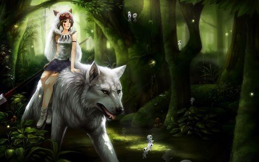 Обои Принцесса Мононокэ Сан / San и богиня-волчица Моро / Moro из аниме Princess Mononoke / Принцесса Мононоке / Mononoke Hime в мистическом лесу