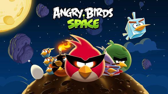 Обои Рисунок к игре Angry birds space / Злые птицы космос
