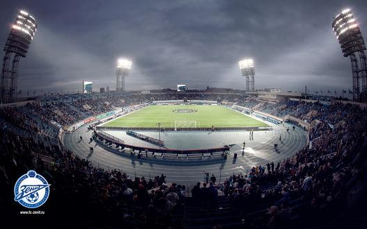 Обои Трибуны стадиона Петровский, Санкт-Петербург вечером (Зенит, fc-zenit.ru)