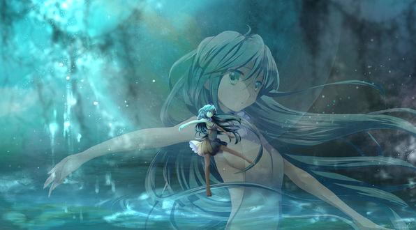 Обои Девушка Vocoloid купается