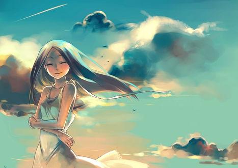 Обои Мило улыбающаяся девушка, нарисованная в стиле аниме, в лёгком летнем платье на фоне неба