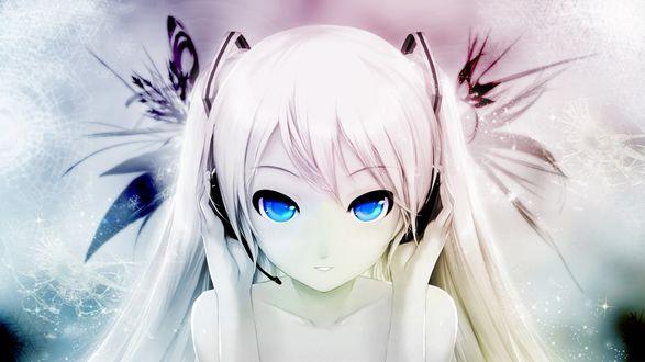 Обои Девушка с голубыми глазами в наушниках