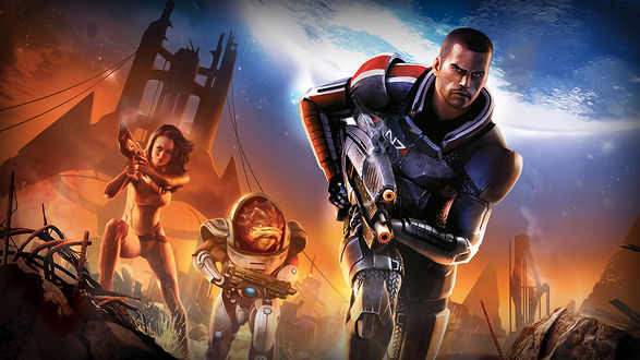 Обои Капитан Шепард и его команда - персонажи игры Mass Effect 2