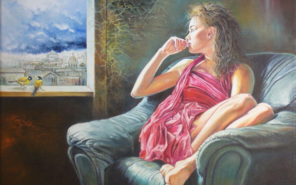 Рисунок девушки сидящей у окна в
