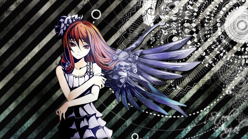 Обои для рабочего стола Грустная анимешная девушка-ангел с механическим крылом (Steel Angel / Стальной Ангел)