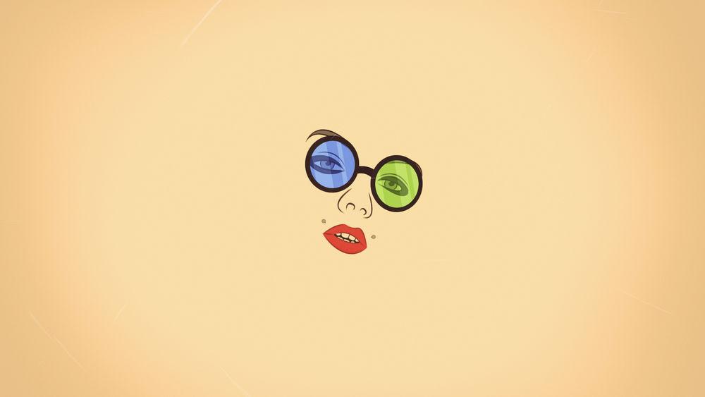Обои для рабочего стола Лицо девушки с красными губами в очках с голубым и зеленым стеклами