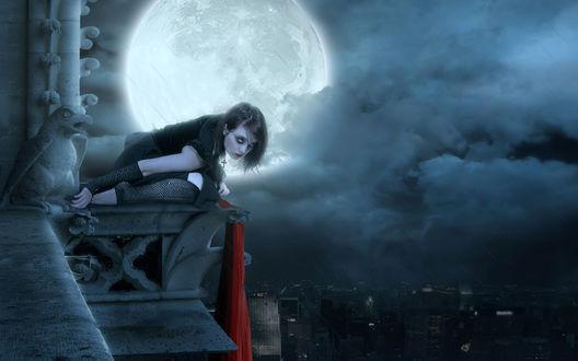 Обои Девушка в готическом стиле сидит на краю балкона