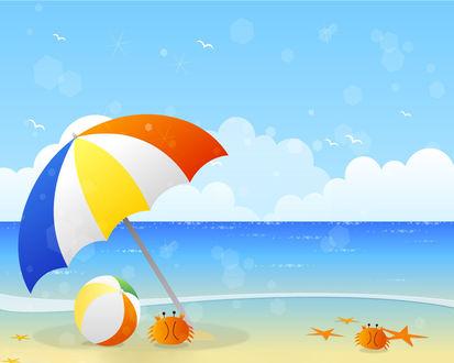 Обои Векторный рисунок морского пляжа  с разноцветным зонтиком и мячом
