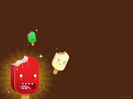 Обои Плачет красное мороженое, веселятся зеленое и белое