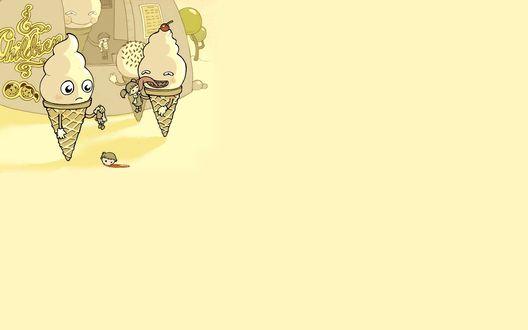 Обои Мороженое ест детей
