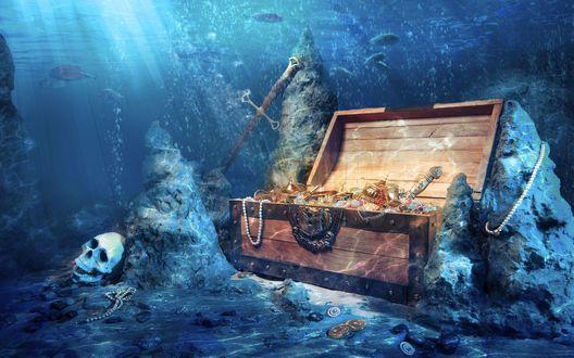 Обои Сундук с сокровищами на морском дне