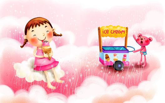 Обои Мишка продает мороженое с тележки, рядом на тучке кушает рожок (ice cream / мороженое)