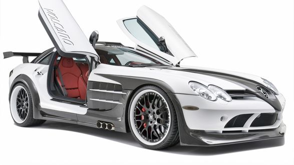 Обои Mersedes-Benz SLR MCLaren / Мерседес-Бенц Макларен после тюнинга вид спереди / справа (volcano)