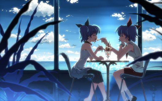 Обои Две анимешные девушки близняшки сидят в кафешке у моря и кормят друг друга мороженым