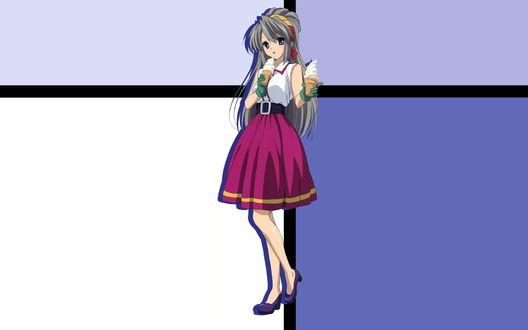 Обои Котоми Итиносэ несет два мороженых, персонаж игры Clannad / Кланнад