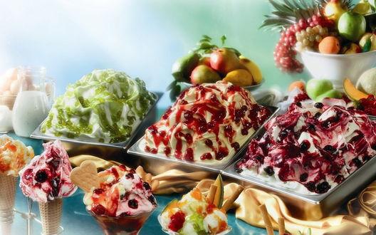 Обои Фруктовое мороженое, фрукты и печенье