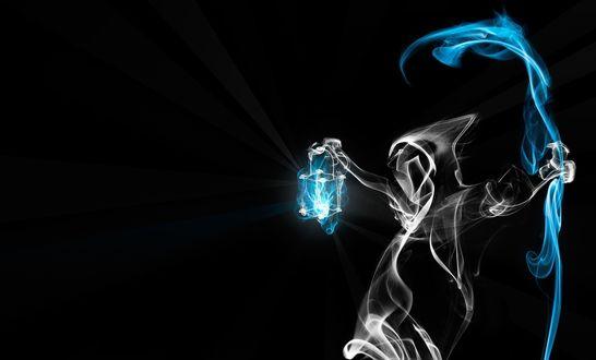 Обои Композиция из дыма - смерть с косой и фонарем