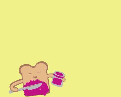 Обои Веселый тост на желтом фоне намазывает себя джемом из банки