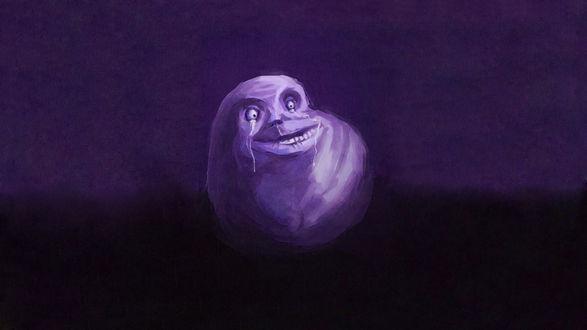 Обои Мем Forever Alone Guy / Вечно одинокий парень на фиолетовом фоне
