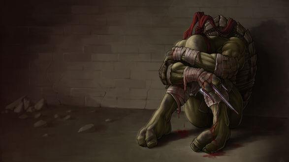 Обои Рафаэль / Raphael из мультика Teenage Mutant Ninja Turtles / Подростки мутанты ниндзя черепашки сидит у стены с окровавленным кинжалом в руке