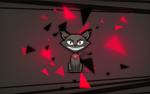 Обои Красивый коричневый котик, с красным ошейником, сидит среди летающих красных и чёрных треугольников, и улыбается