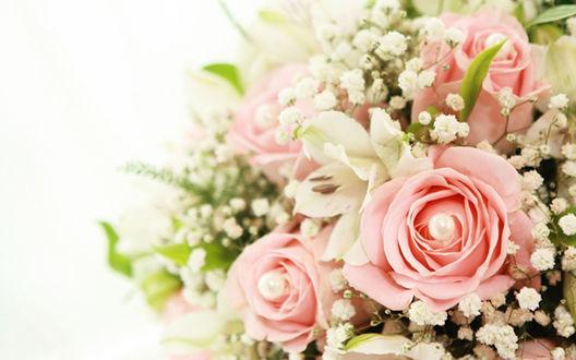 Обои Белые лилии и розовые розы в одном букете