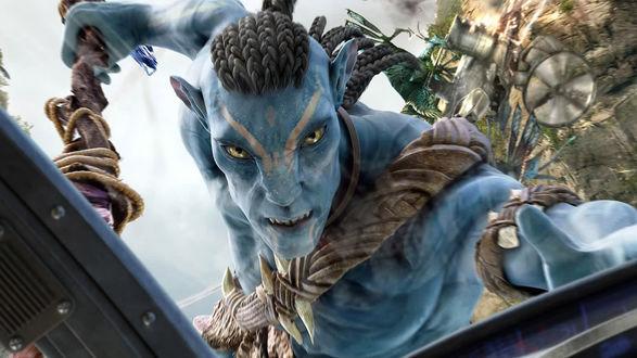 Обои Аватар зацепился за вертолет, кадр из фильма Джеймса Кэмерона / James Cameron 'Аватар / Avatar'