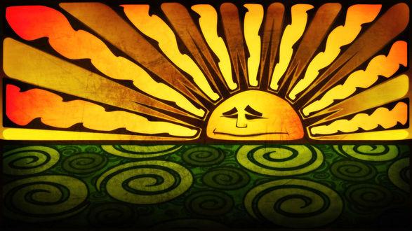 Обои Забавное солнце, встающее из-за моря