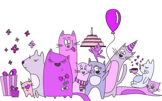 Обои Коты празднуют День рождения, у них есть подарки, торт и розовый шарик